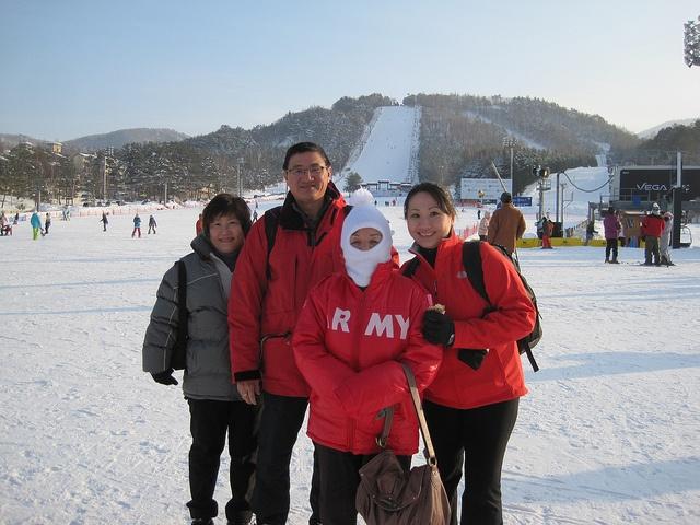 Family at Yongpyong (Dragon Plains) Ski resort on Yr of the Dragon.. how apt!