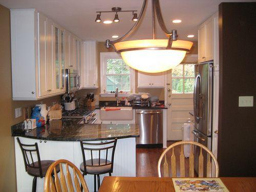 Narrow Kitchen Opened To Dining Room Working Around Back Door