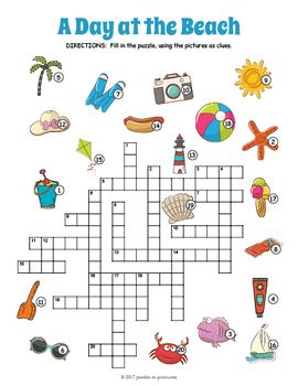 Summer Crossword Puzzle A Day At The Beach Puzzles Crossword