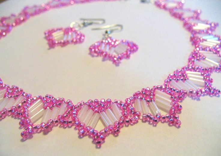 Lovely Beaded Hearts Necklace And Earrings Seed Beads And Bugles