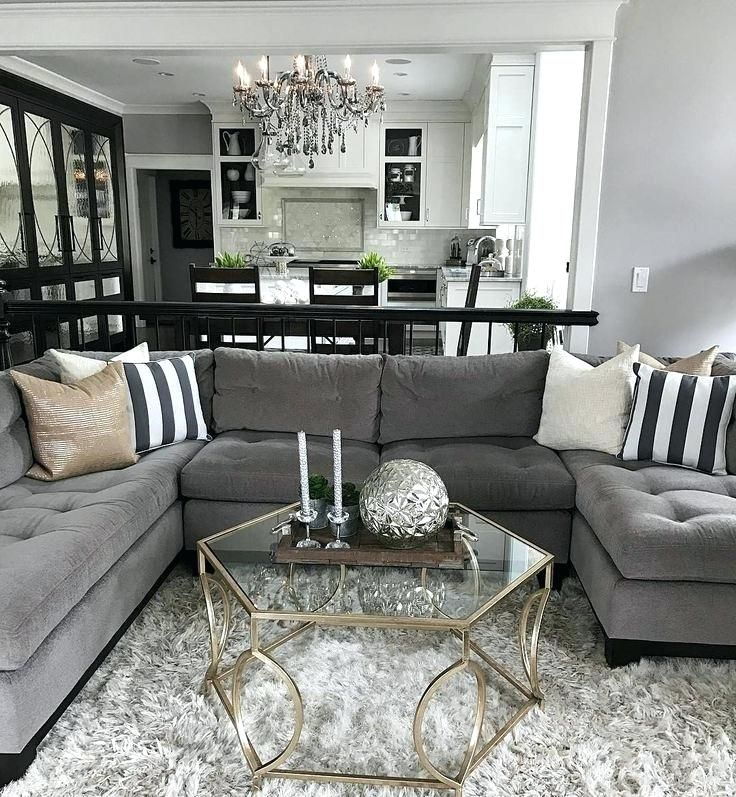 Glod Cream Black Accents Living Room Decor Gray Grey Sofa