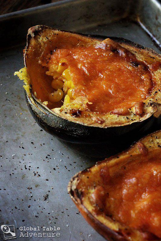 Roasted Acorn Squash with Cheddar & Corn (Zimbabwe)