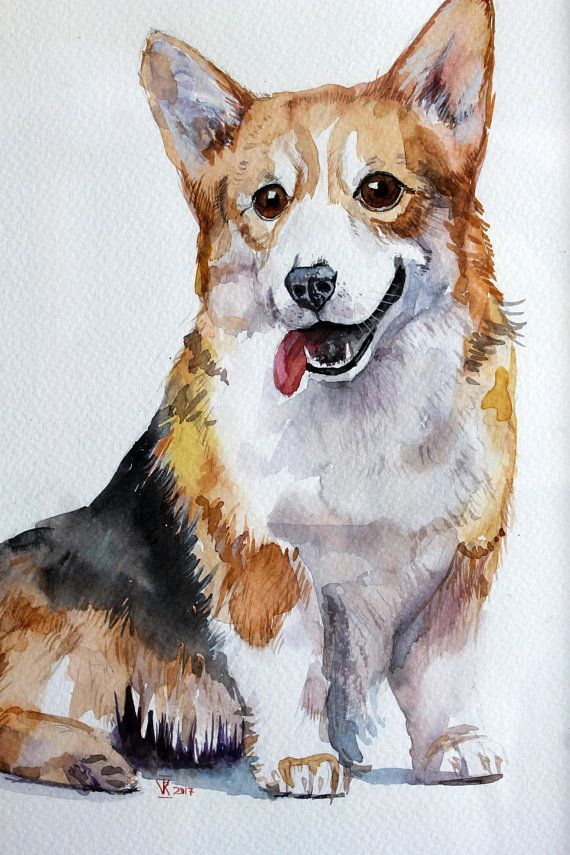 Watercolor Corgi Original Painting Dog Art Gift For Corgi Lovers