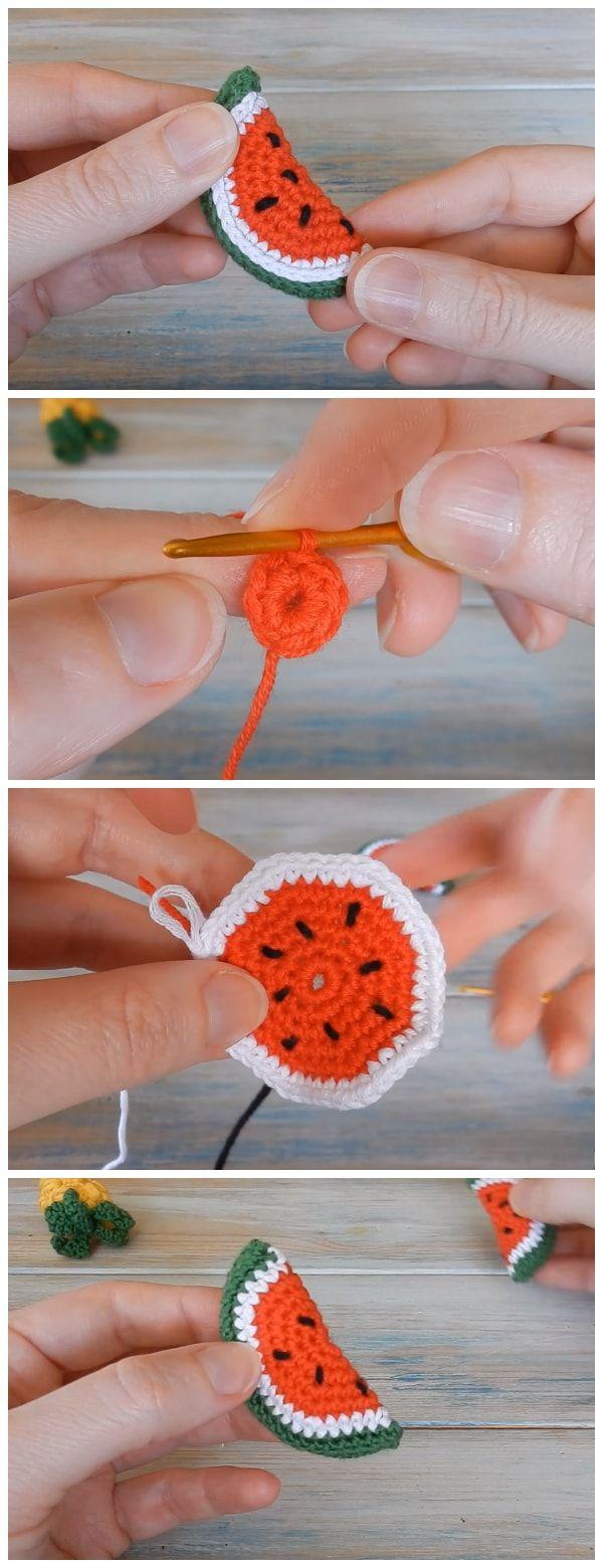 Ich zeige dir, wie man eine winzige Mini-Ananas und eine Wassermelone häkelt. Dieser Croch …