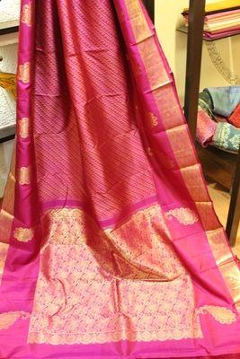Pink And Gold Kanjeevaram Silk Saree Silk Sarees #sarees #saris #indianclothes #womenwear #anarkalis #lengha #ethnicwear #fashion #Bollywood #vogue #indiandesigners #handmade #britishasianfashion #instalove #desibride #bollywoodfashion #aashniandco #perniaspopupshop #style #indianbeauty #classy #instafashion #lakmefashionweek #indiancouture #londonshopping #bridal #allthingsbridal #statementpieces #weddingideas #jewelry #jewellery