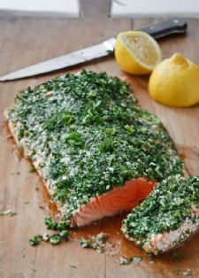 Roasted salmon with green herbs.