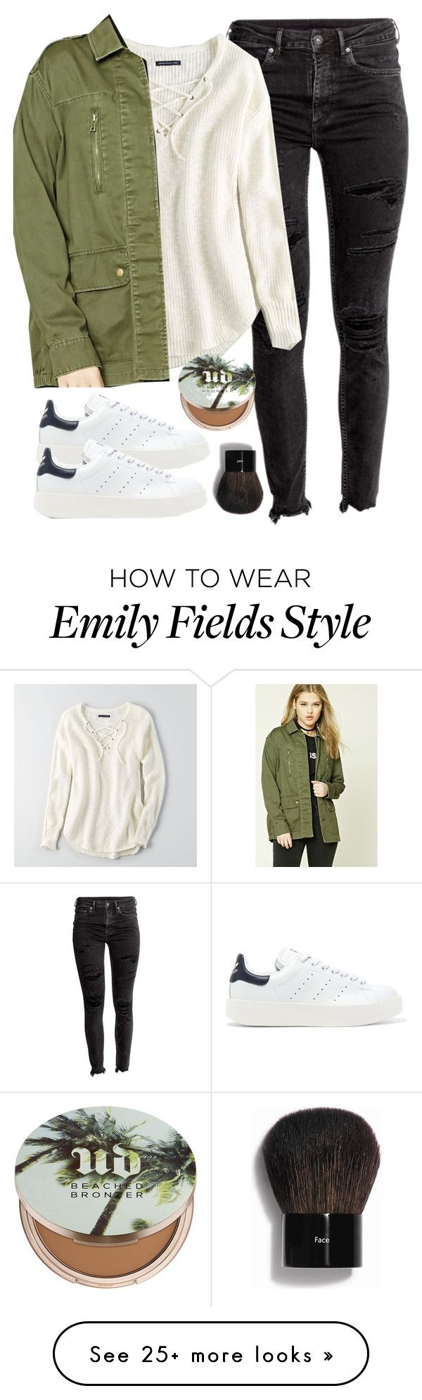 """Emily Fields inspired college outfit"" by liarsstyle on Polyvore featuring American Eagle Outfitters, Forever 21, adidas Originals, Urban Decay, Bobbi Brown Cosmetics, casual, outfit, travel, college and comfortable"