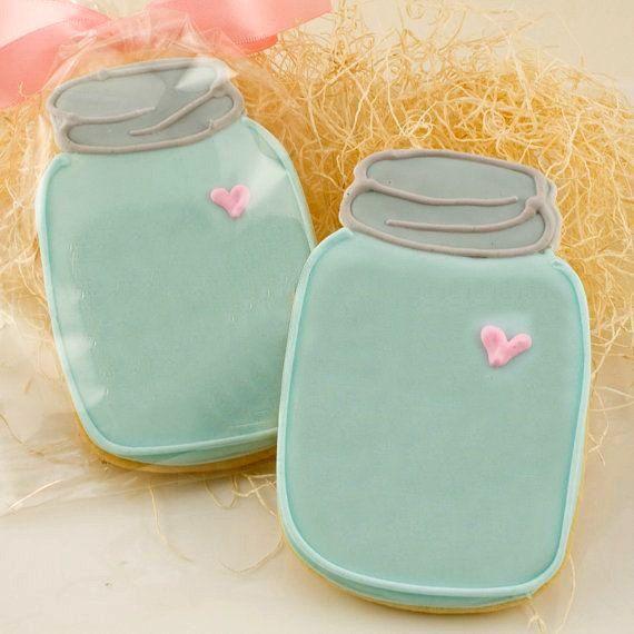 One dozen 12 Mason Jar cookies Wedding Favors by LoveBirdBakery