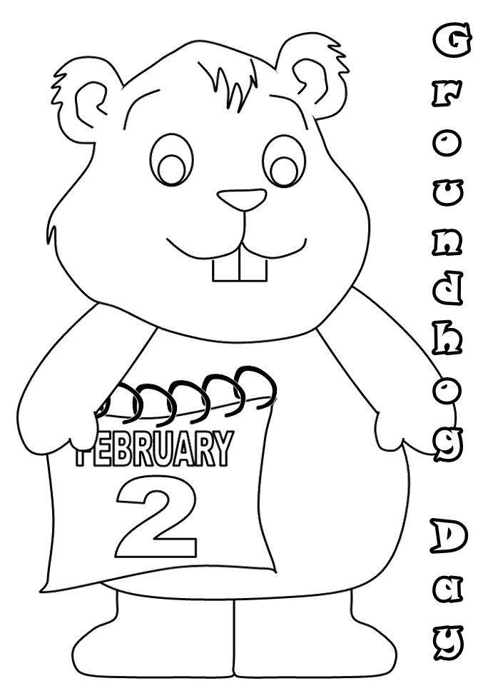 Pictures Groundhog 2 February Coloring Pages Event