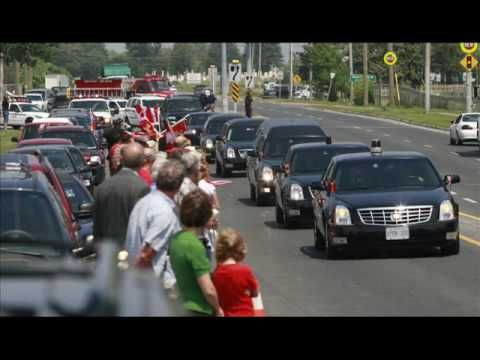 When Canadian soldiers who died serving  are sent home,  their flag-draped caskets arrive at Canadian Forces Base Trenton in Eastern Ontario where they are transported the 107 miles on Highway 401 to the coroner's office in Toronto. Canadians line parts of the highway and every overpass. The 401 has been officially renamed The Highway of Heroes.