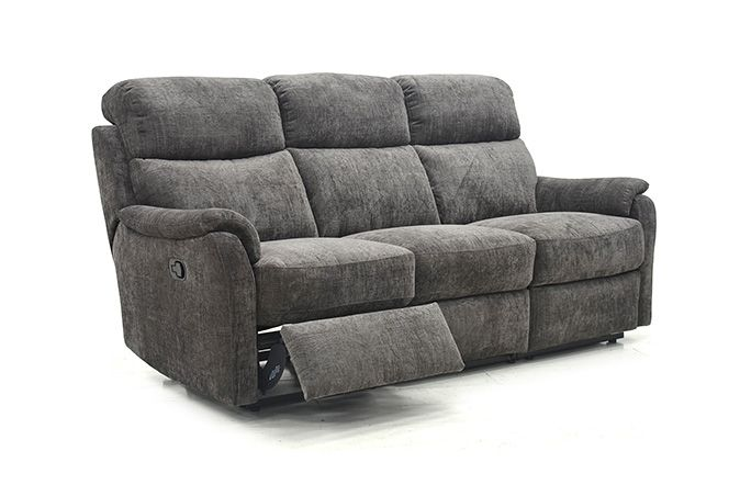 Mayfair 3 Seater Sofa with 2 reclining seats in faux suede fabric finish.