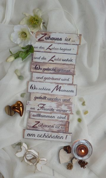 Wanddeko - Dekoschild, Zuhause ist, Familienregel m. Holzherz - ein Designerstück von Gifts-from-the-heart-by-Sunny bei DaWanda