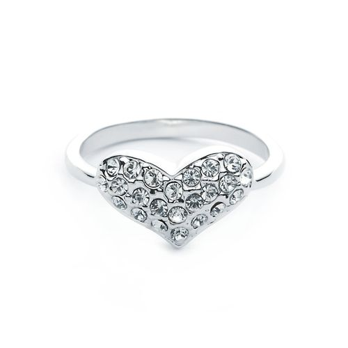 Rhodium Plated Crystal Heart Stretch Ring Delicate Crystal Silver Plated 'Sparkle Heart' C4aeqtayEQ