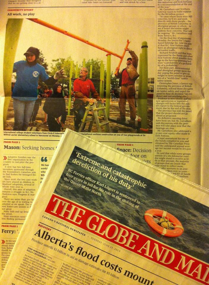 Globe and Mail - June 25, 2013 Circle K International Volunteers build playgrounds for Sir Wilfrid Laurier Annex and  Elementary as part of their 2013 Large Scale Service Project.