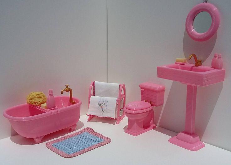 Set da bagno per fashion dolls alte 37 cm circa
