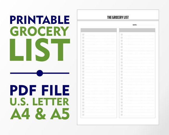 Printable Grocery ListA4 A5 and U.S. Letter by vecprin on Etsy