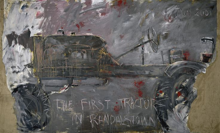 Basil Blackshaw, FIRST TRACTOR IN RANDALSTOWN oil, acrylic and collage on canvas 183 by 305cm.; 72 by 120in. - sold 134,500 GBP
