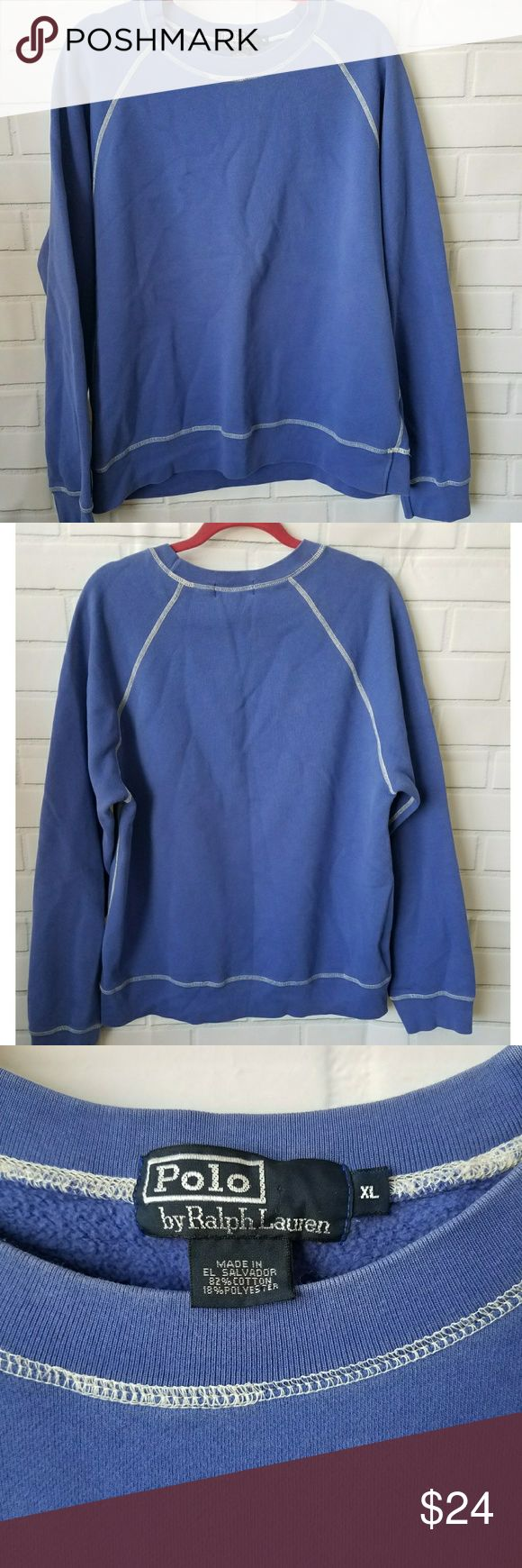 Polo Ralph Lauren crewneck sweatshirt blue purple Polo by Ralph Lauren crewneck sweatshirt size XL, great condition! Periwinkle blue / purple color with white thread visible stiching. Polo by Ralph Lauren Shirts Sweatshirts & Hoodies