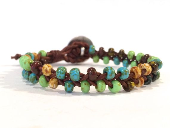 Beaded Braided Leather Bracelet Opaque Boho Picasso Beads