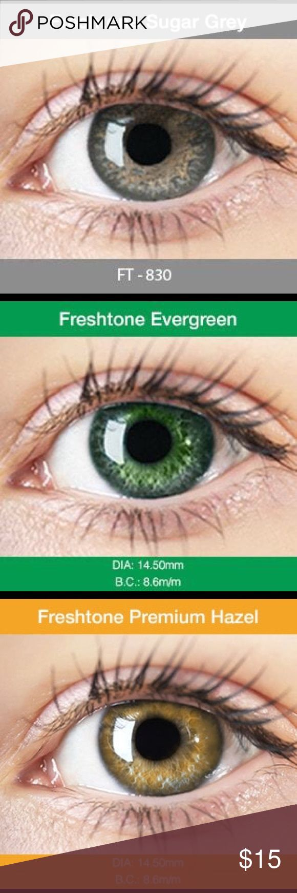 FREE CASE| colored Contact lenses DESCRIPTION: Diameter: 14.5mm  Water Content: 42% water  Base Curve: 8.6mm  Usage: 4-6 months   Comes with a free case! HIGH QUALITY NON PRESCRIPTION FRESHTONE COSMETICS COLOR CONTACTS  Freshtone colored contact lenses are packed to the highest possible standards for health and hygiene. **THESE PRODUCTS ARE ALL NON PRESCRIPTION CONTACT LENSES MEANING YOU CAN WEAR THEM WITHOUT ANY PRESCRIPTIONS**  FREE SHIPPING: SHIPPED IN THE SAME DAY   $13 FOR ONE PAIR OF…