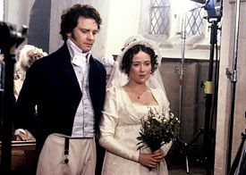 Milliner Louise Macdonald made Elizabeth's bonnet creating a wire frame and covering in silk tulle. It is trimmed with a piece of waxed orange blossom.    Actors Colin Firth (Darcy) and Jennifer Ehle (Elizabeth Bennet) in the BBC's Pride and Prejudice (1995)  photo by Melbourne milliner Louise Macdonald