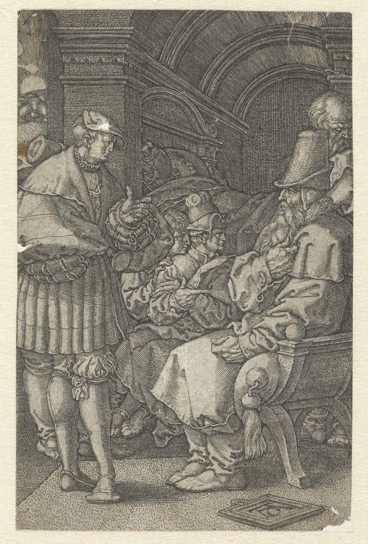 Heinrich Aldegrever   Jozef vertelt zijn dromen aan Jakob, Heinrich Aldegrever, 1532   Jozef staat voor zijn vader Jakob en vertelt hem zijn dromen, de broers luisteren mee. Achter in de kamer ligt Jozef slapend in zijn bed. Zijn droom over de korenscharen en de zon, maan en sterren die voor hem buigen, is zichtbaar door een raam. Eerste prent van drie met het verhaal van Jozef.