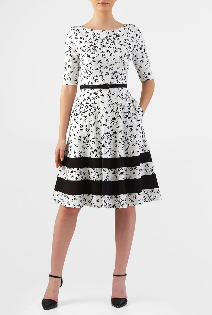 Our bird print cotton knit dress is cinched in with a contrast fabric-belt at the elastic waist. The princess-seamed bodice and flared skirt are classically flattering, while pockets and a contrast banded stripe hemline offer modern elements.