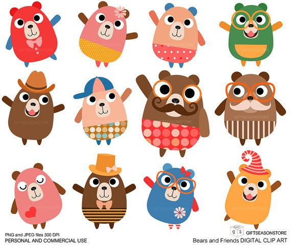 Bears+and+Friends+clip+art+for+Personal+and+by+Giftseasonstore