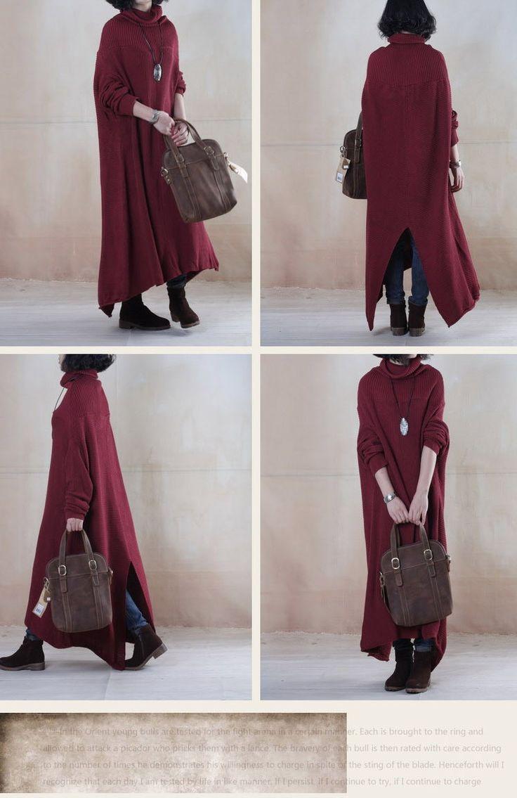 Платья : Длинное трикотажное платье с воротником гольф