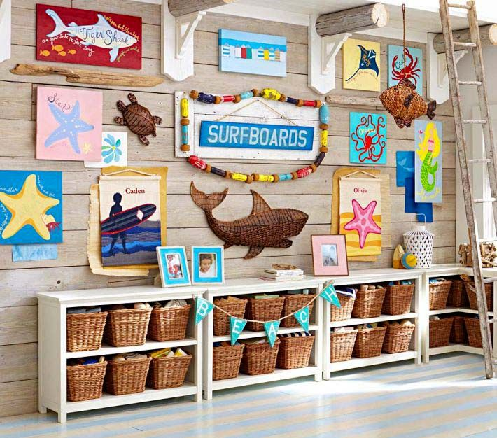 kids nautical room...wicker baskets/picture collage wall