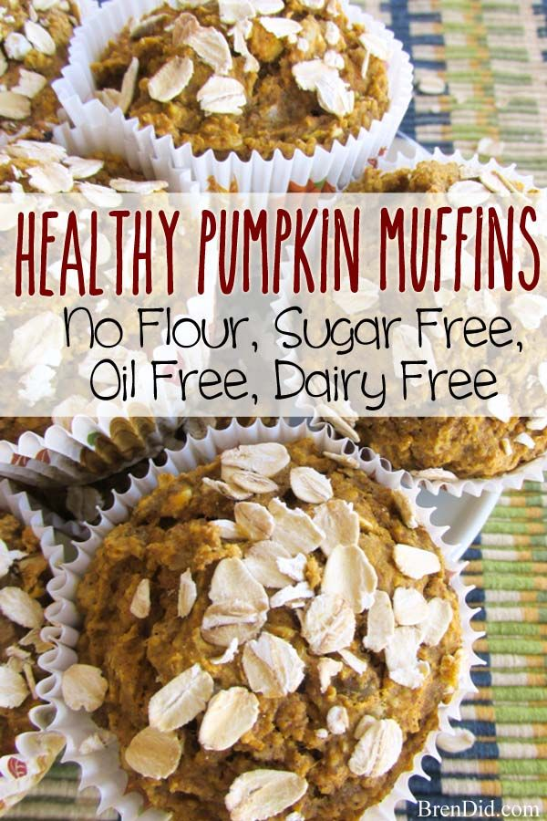 BrenDid No Flour, Sugar Free, Oil Free, Dairy Free Healthy Pumpkin Muffins Recipe. No Flour, Sugar Free, Oil Free Healthy Oatmeal Muffins Recipe → Sound like a recipe for cardboard? These tasty muffins are both nutritious and delicious! #food Food ideas recipes