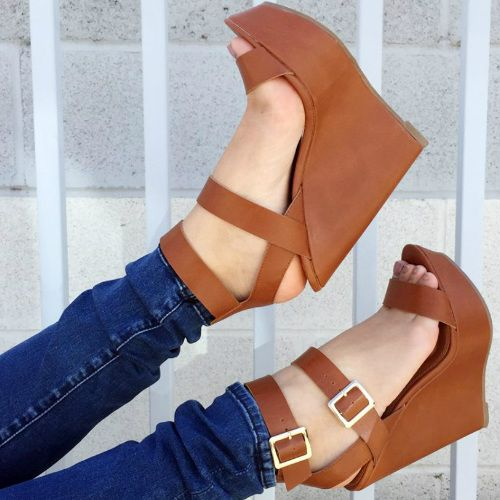 Hot! Brown Double Ankle Strap Wedges