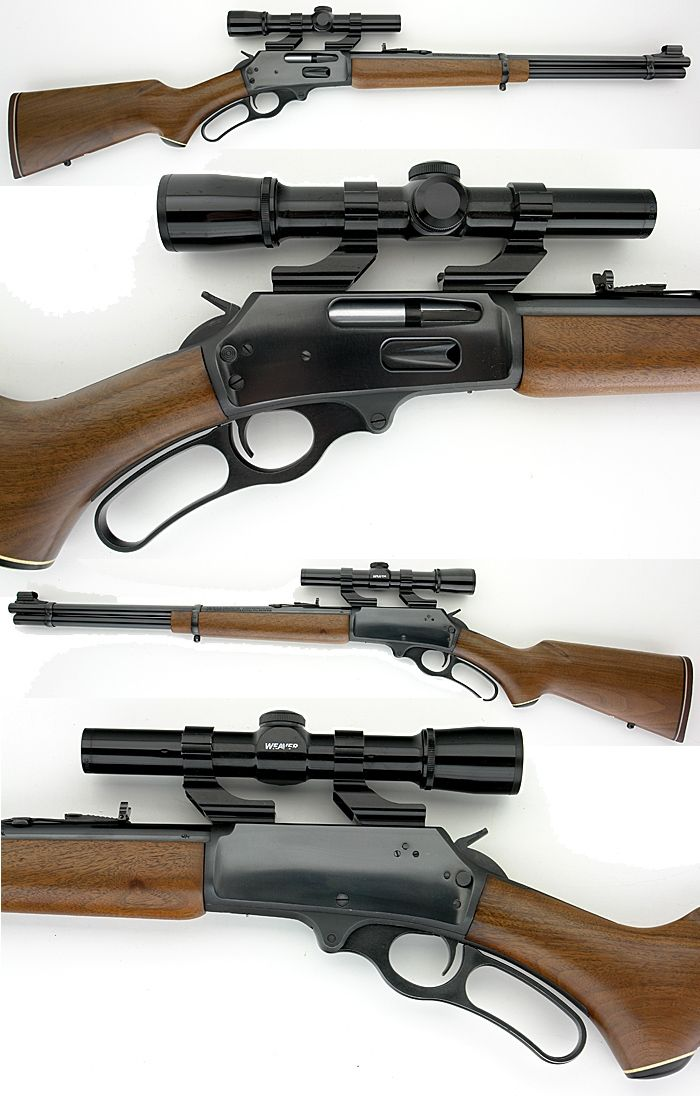 """MARLIN MODEL 336C. LEVER ACTION 30-30  With a WEAVER SCOPE. Mine has a 4X Weaver scope. The fore piece and the lever area of the stock has been checkered. I love this """"Deer Slayer"""". WFH."""