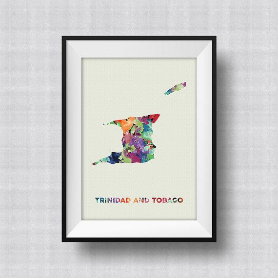 Trinidad And Tobago Watercolor Map Art Print, Trinidad And Tobago Ink Splash Poster Art, Trinidad And Tobago Map Watercolor Print  ♥ Please note that Frame is not included, they are for display only.  ♥ Please choose your print size from the drop down menus. If you dont see the desired