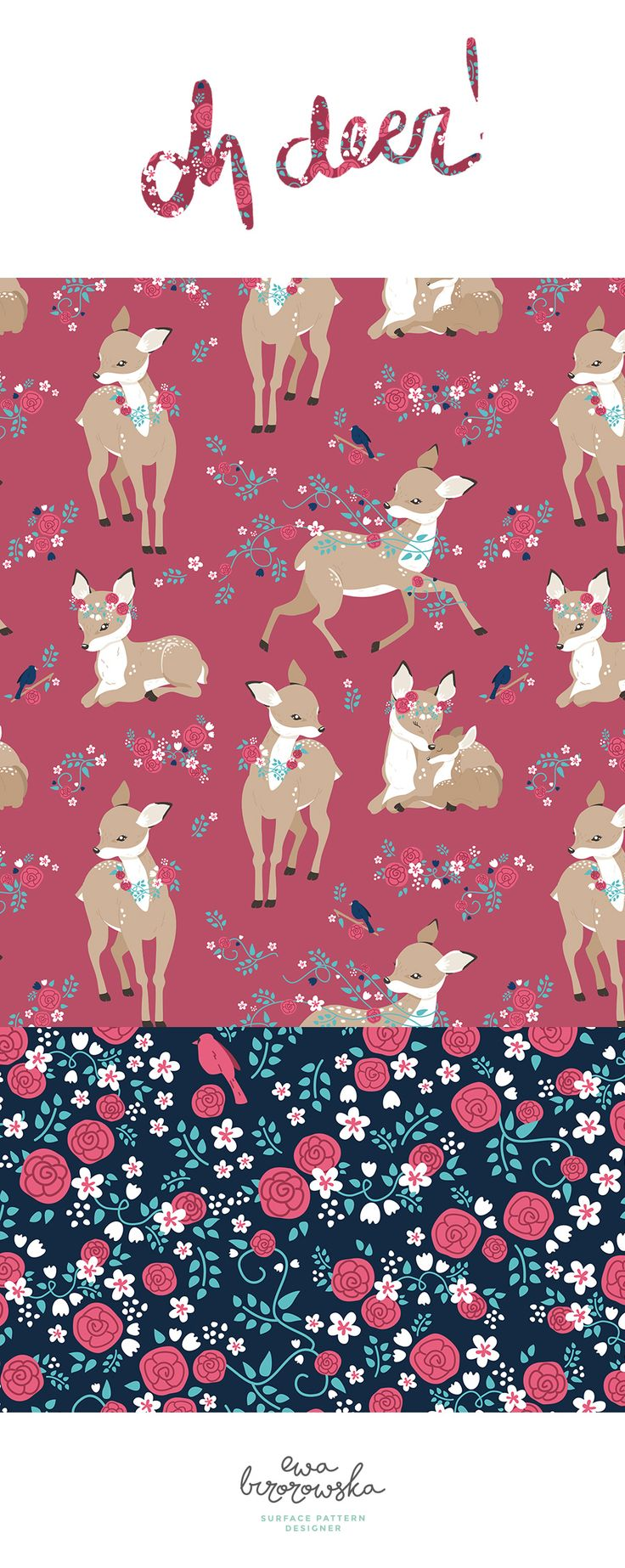 Oh Deer! is a romantic mini-collection with cute roes and floral. I love designing navy-background patterns. The combination of dark background and such a delicate motifs as deers just works perfectly for me! ;)