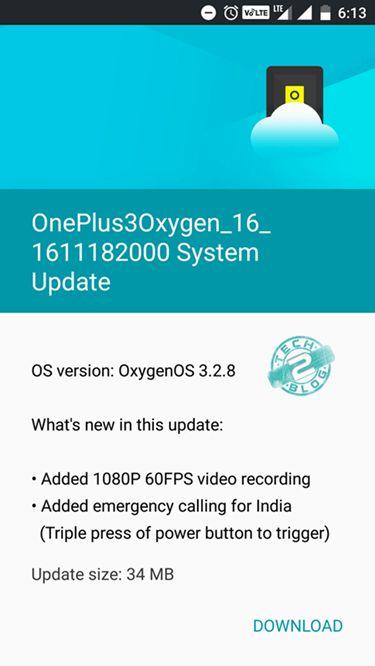 OnePlus 3 Oxygen OS 3.2.8 Update