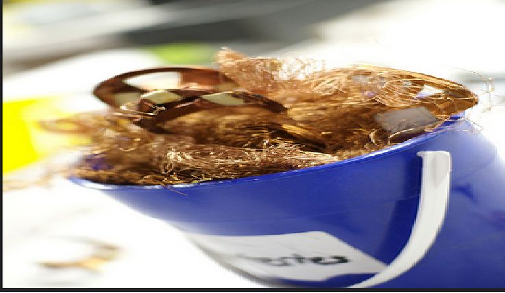 Gee Your Hair Seems Shiny Today - Curls made of #copper may make your hair a lovely color, but it may be a bit wiry. Maybe you should recycle them instead. #Salvaging a ton of copper saves 15 percent of the energy needed to extract new material.