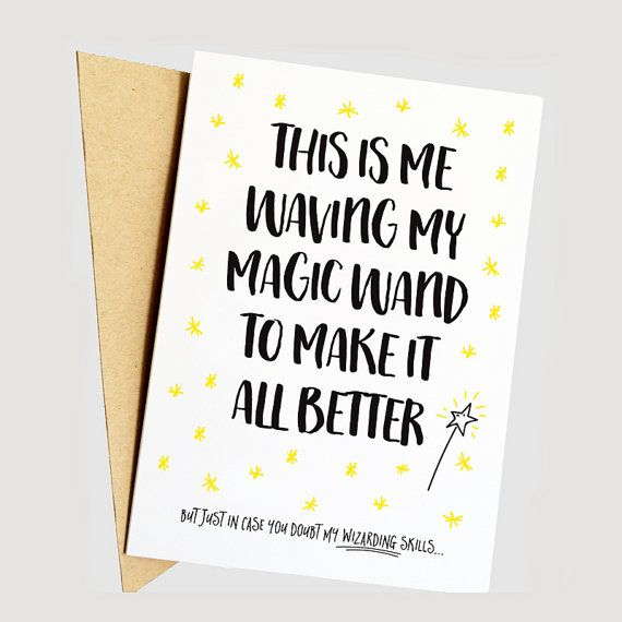 Waving my Magic Wand, Funny Get Well Soon Card, Funny Cancer Card, Funny Chemo Card, Funny Sympathy Card, Funny Break up/Divorce Card
