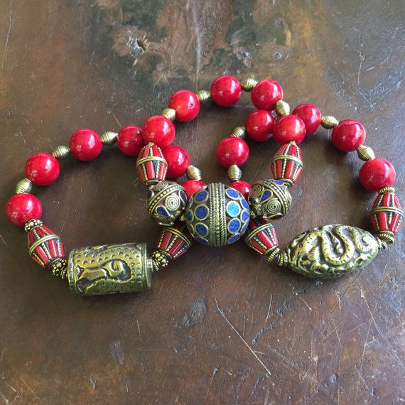 Bamboo Coral Brass Tribal Triple Set by JewelrybyKellyWalker