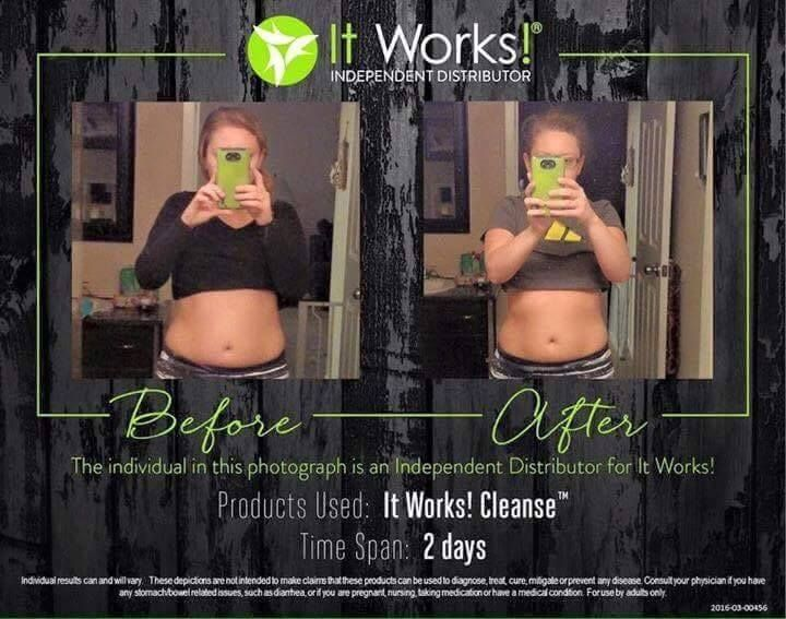 In just 2 days this distributors body went from that to this in just 2 days from our ItWorks Cleanse  I'm looking for 3 people that are committed to their health and nutrition goals and want to take them to a whole new extreme.The transformations you see are real from real people who use the ItWorks products daily and you can have these same results!!!  Contact me and let's talk about how the #ItWorks products can enhance your life!!!! #ItWorks #EnhanceYourLife #WeightGains #Weightlosses…