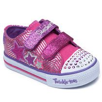Skechers  Twinkle Toes Pink Star: These Skechers for girls will let her glitter, shine and sparkle around the playground. They come in a pink design with colourful glittery Velcro straps, rhinestones on the toe that light up as she walks and a pretty star design on the side.