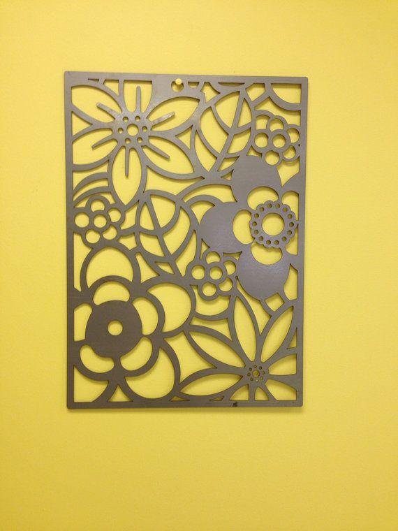 Pared de Metal Flor abstracta o jardín arte Panel por alkemymetal