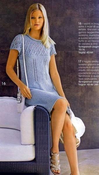 Связать платье спицами из льна