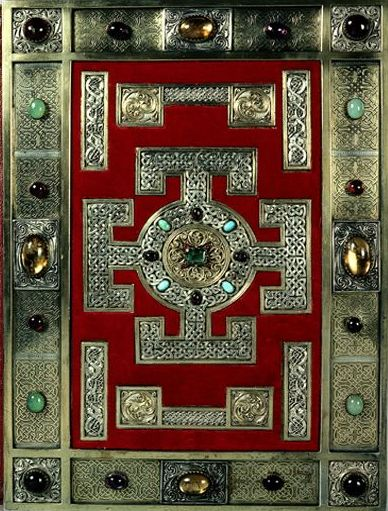The cover of the Lindisfarne Gospels, written in the late 7th or early 8th century and currently housed in the British Library in London.