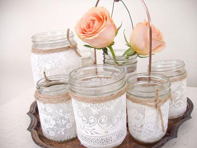 DIY - lace jar vases