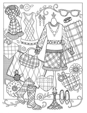 Marjorie Sarnats Fanciful Fashions Coloring For Everyone Glad Im Clad In Plaid