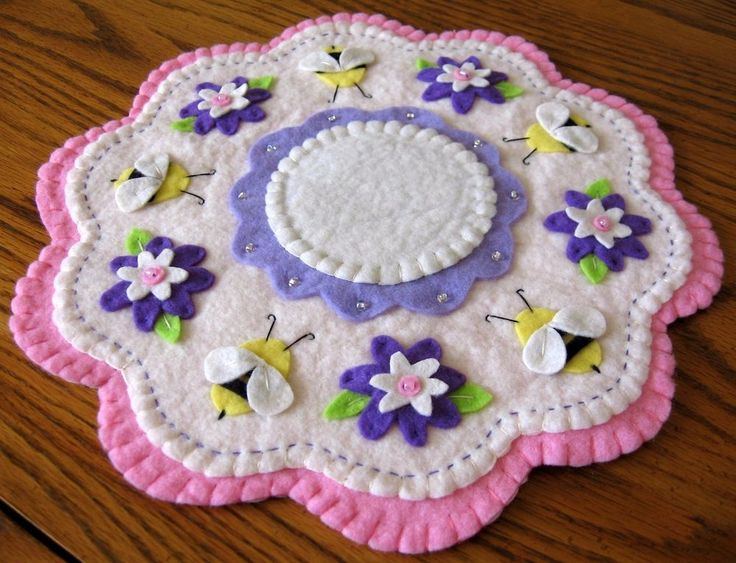 """Spring Bumblebee Sparkle #2"" ~ 11"" Penny Rug ~ Candle Mat ~ Wool Felt ~ Prim"