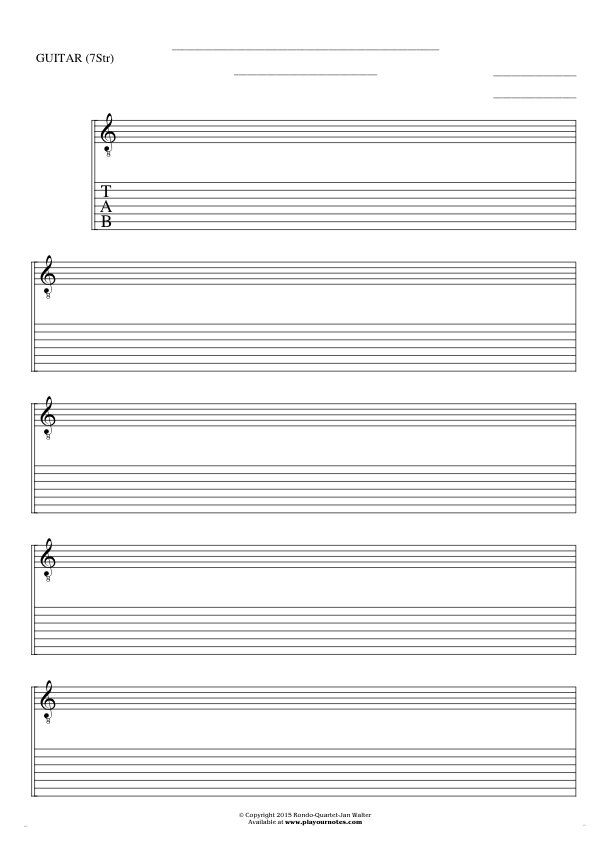 Free Blank Sheet Music sheet music by Jan Walter. Part: Notes and tablature for guitar (7-str.).