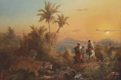 """""""Java Landscape, With Tigers Listening to a Group of Travelers"""", by Raden Saleh Syarif Bustaman (ca. 1810-1880)."""
