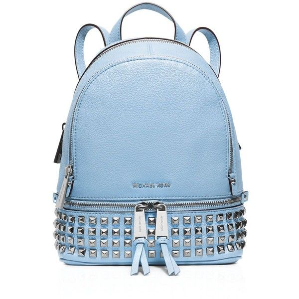 Michael Michael Kors Extra Small Rhea Zip Studded Backpack ($328) ❤ liked on Polyvore featuring bags, backpacks, michael michael kors bags, rucksack bag, knapsack bags, zip backpack and mini backpack